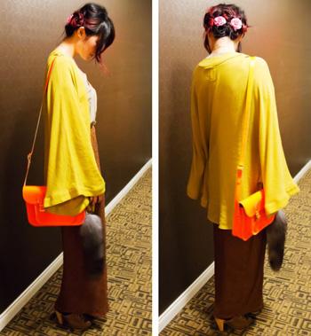 Mustard-kimono-from-J2J2-tiffany-and-co-elsa-peritti-hearts-wilfred-silk-top-brown-woven-maxi-skit-cambridge-satchle-co-fluoro-faux-fox-tail-aldo-shoes-e1333079521468